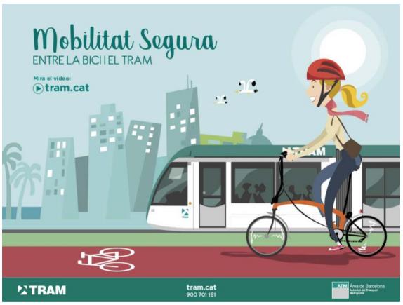 Campaña para fomentar la convivencia entre bicicletas y tranvías en Barcelona
