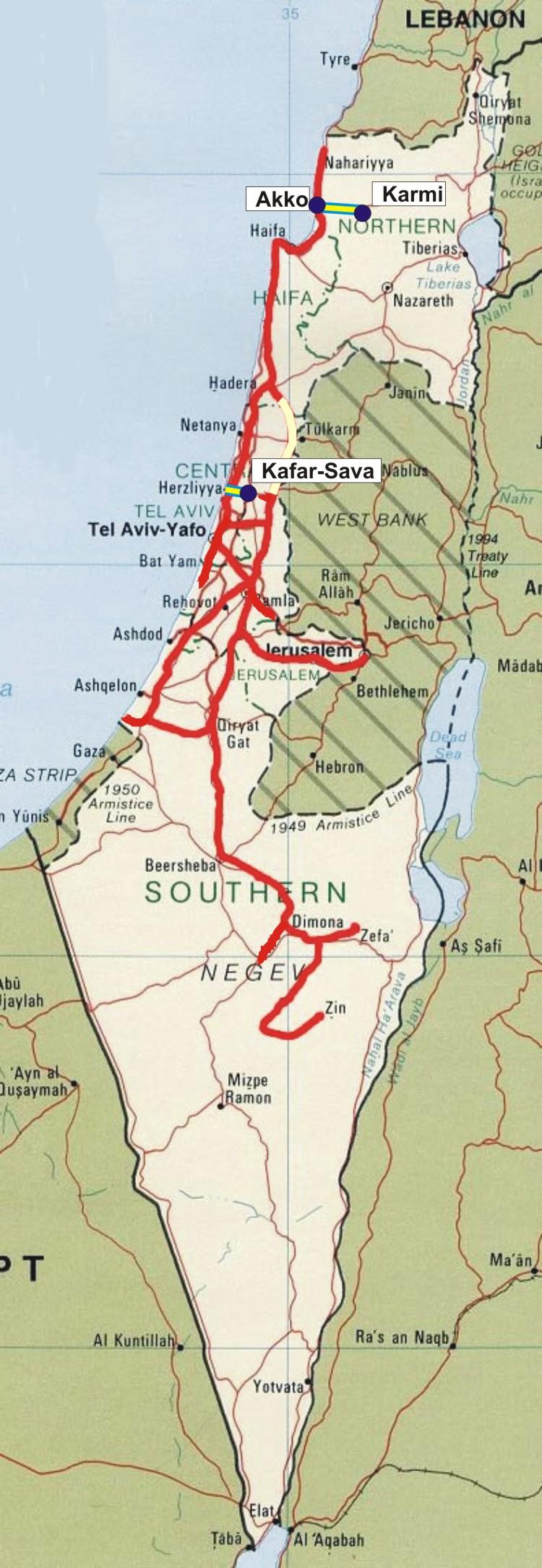 Mapa de la red ferroviaria israelí, con los nuevos tramos que serán electrificados, al norte y en el centro, junto a la capital Tel Aviv. Edición Vía Libre.